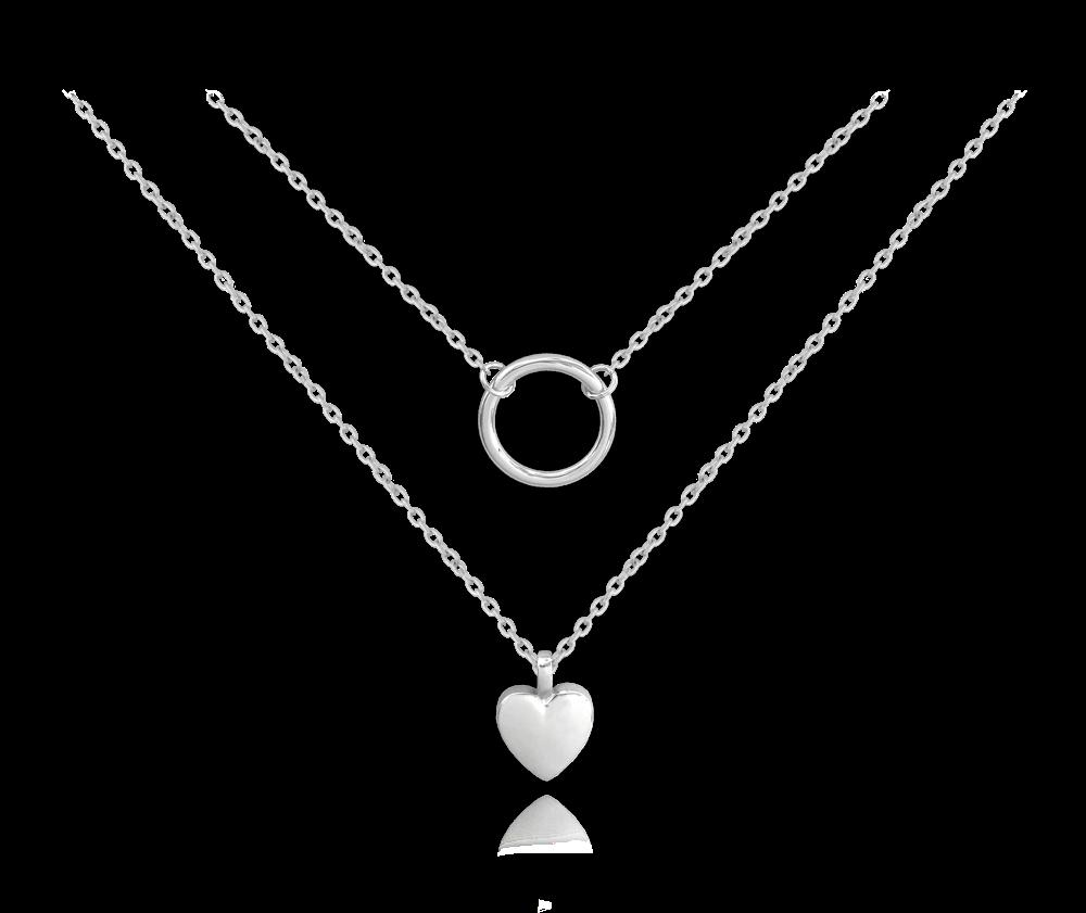 MINET Dvojitý stříbrný náhrdelník MINET se srdíčkem a kroužkem JMAN0210SN45