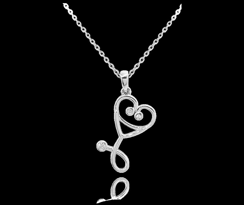 MINET Stříbrný náhrdelník MINET STETOSKOP se zirkony JMAN0216SN45