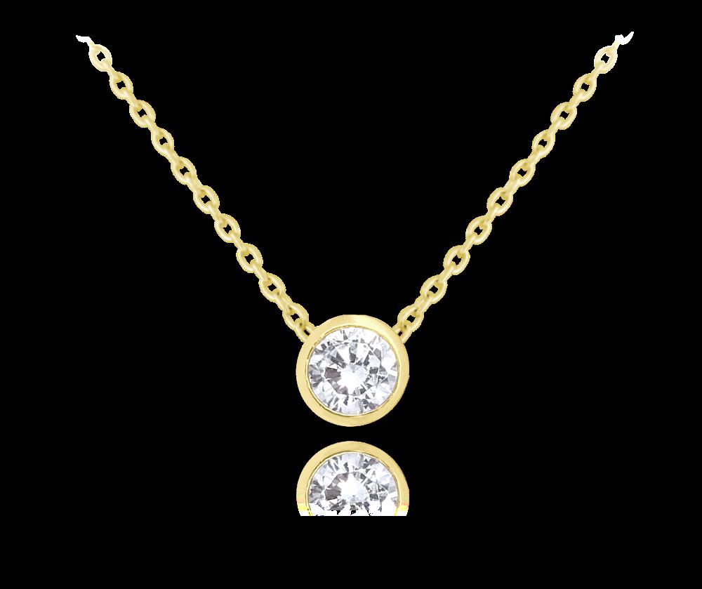 MINET Decentní pozlacený stříbrný náhrdelník MINET s bílým zirkonem JMAS0096GN45
