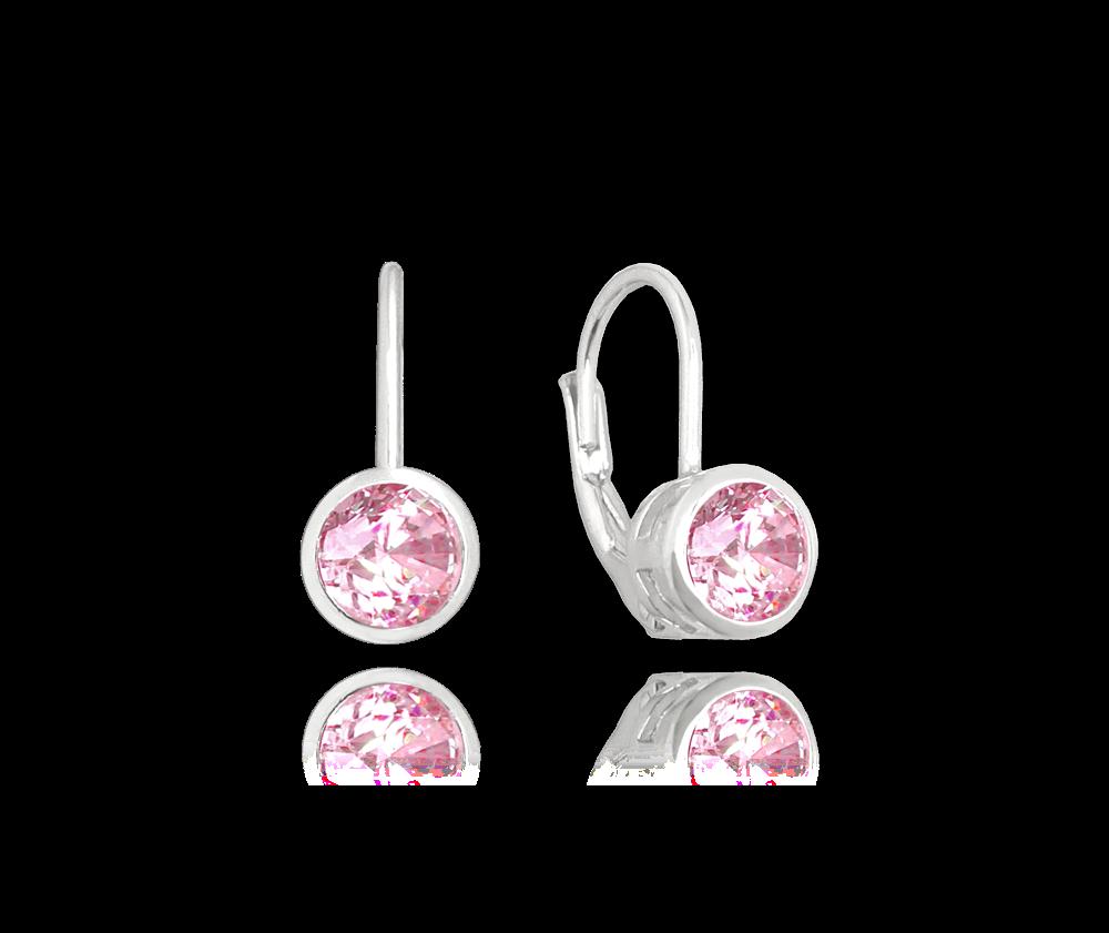 Decentní stříbrné náušnice MINET s růžovými zirkony