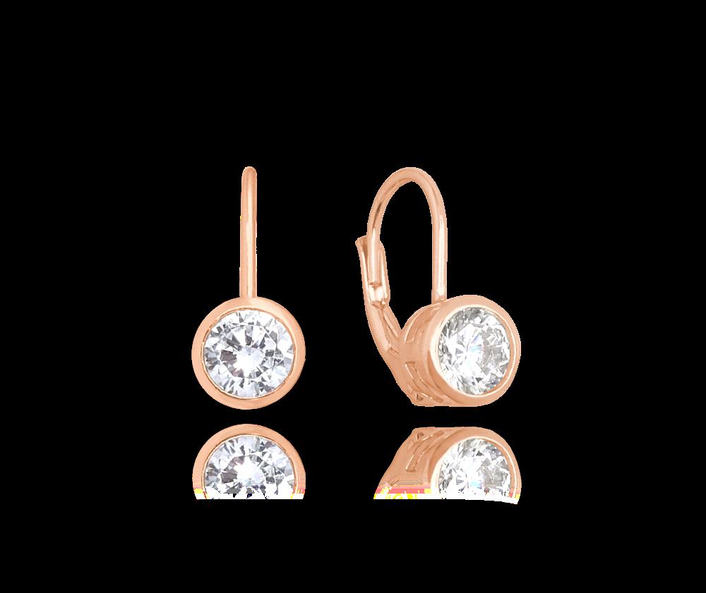 MINET Decentní Rose gold stříbrné náušnice MINET s bílými zirkony JMAS0096RE00