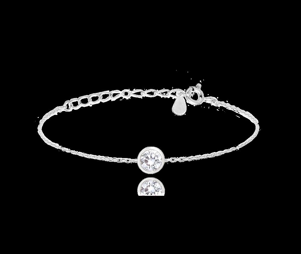 MINET Decentní stříbrný náramek MINET s bílým zirkonem JMAS0096SB16
