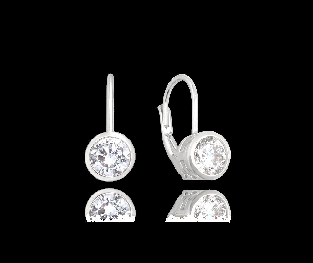 MINET Decentní stříbrné náušnice MINET s bílými zirkony JMAS0096SE00