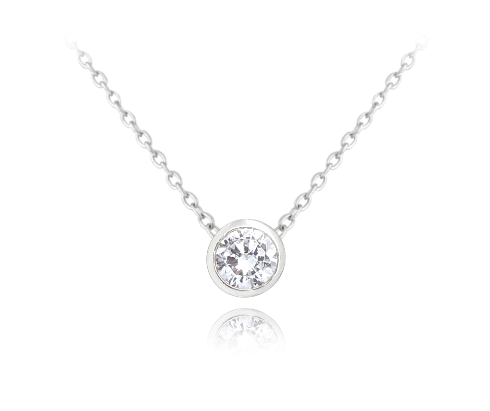 MINET Decentní stříbrný náhrdelník MINET s bílým zirkonem JMAS0096SN45