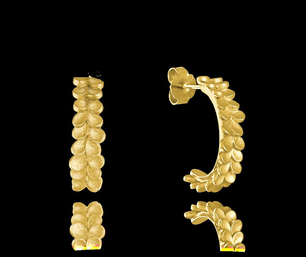 Matné pozlacené stříbrné náušnice MINET EUCALYPTUS