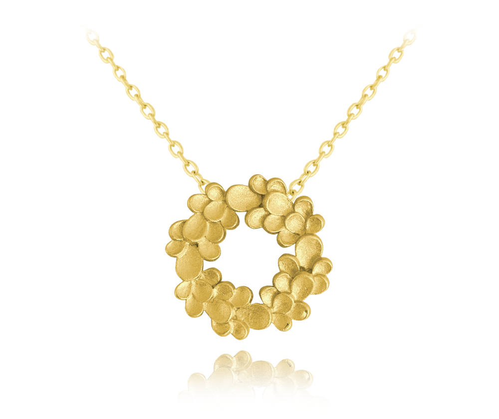 Matný pozlacený stříbrný náhrdelník MINET EUCALYPTUS