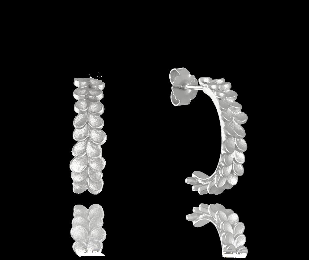 Matné stříbrné náušnice MINET EUCALYPTUS