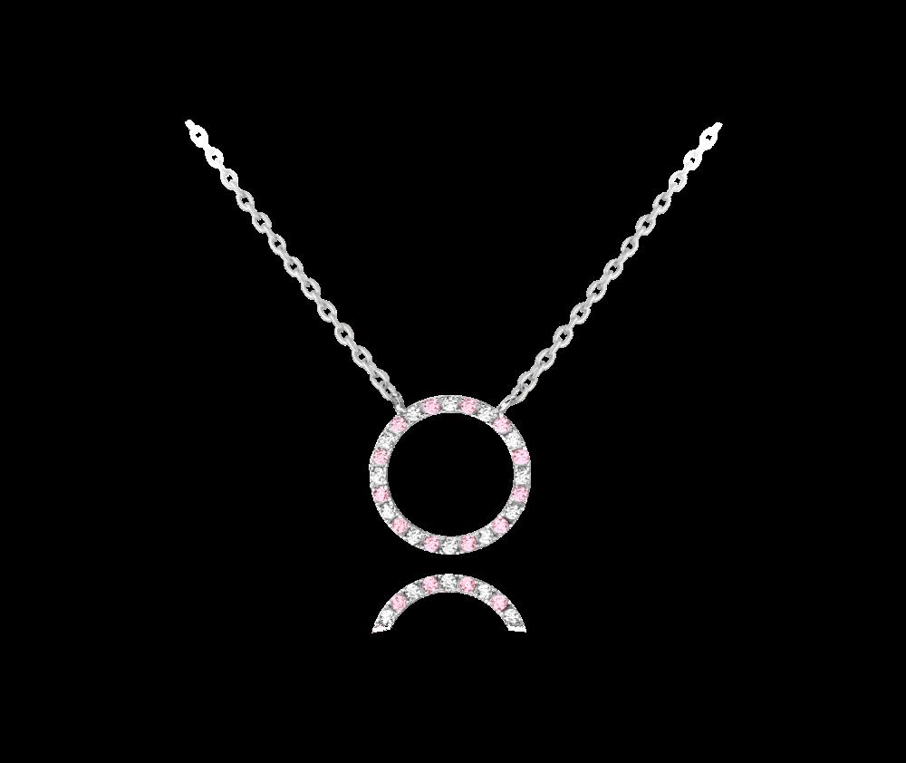 MINET Stříbrný náhrdelník MINET KROUŽEK s bílými a růžovými zirkony JMAN0140QN45