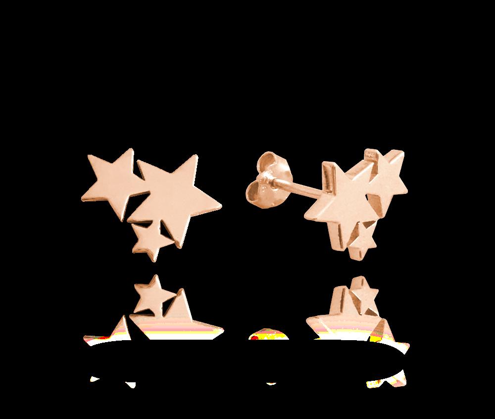 MINET Rose gold stříbrné náušnice MINET HVĚZDIČKY JMAN0200RE00