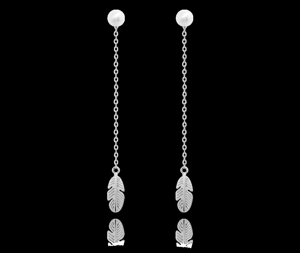 Stříbrné náušnice MINET PEŘÍČKA s přírodní perlou