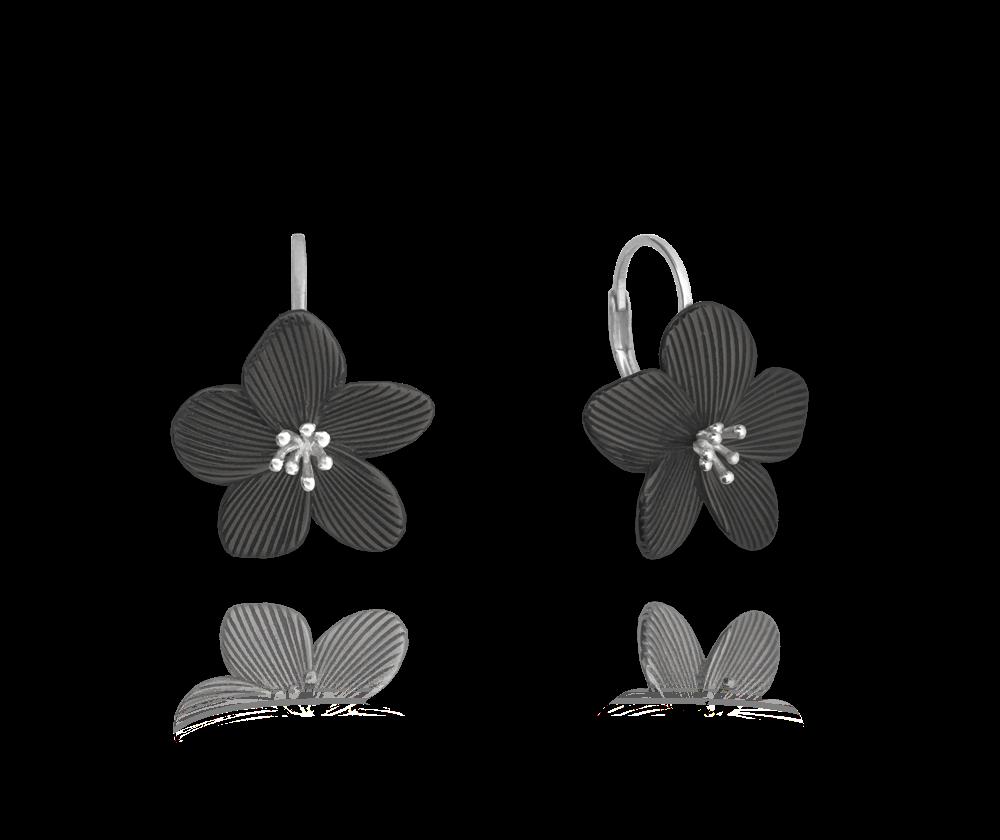 Černé rozkvetlé stříbrné náušnice MINET FLOWERS