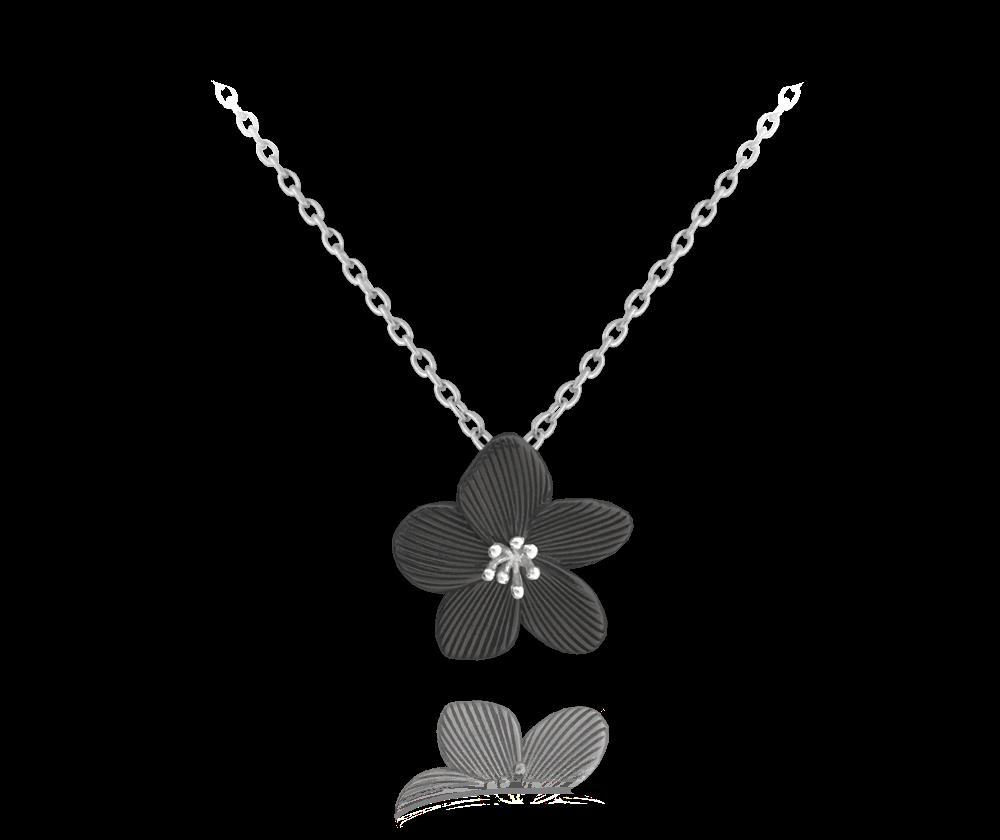 Černý rozkvetlý stříbrný náhrdelník MINET FLOWERS