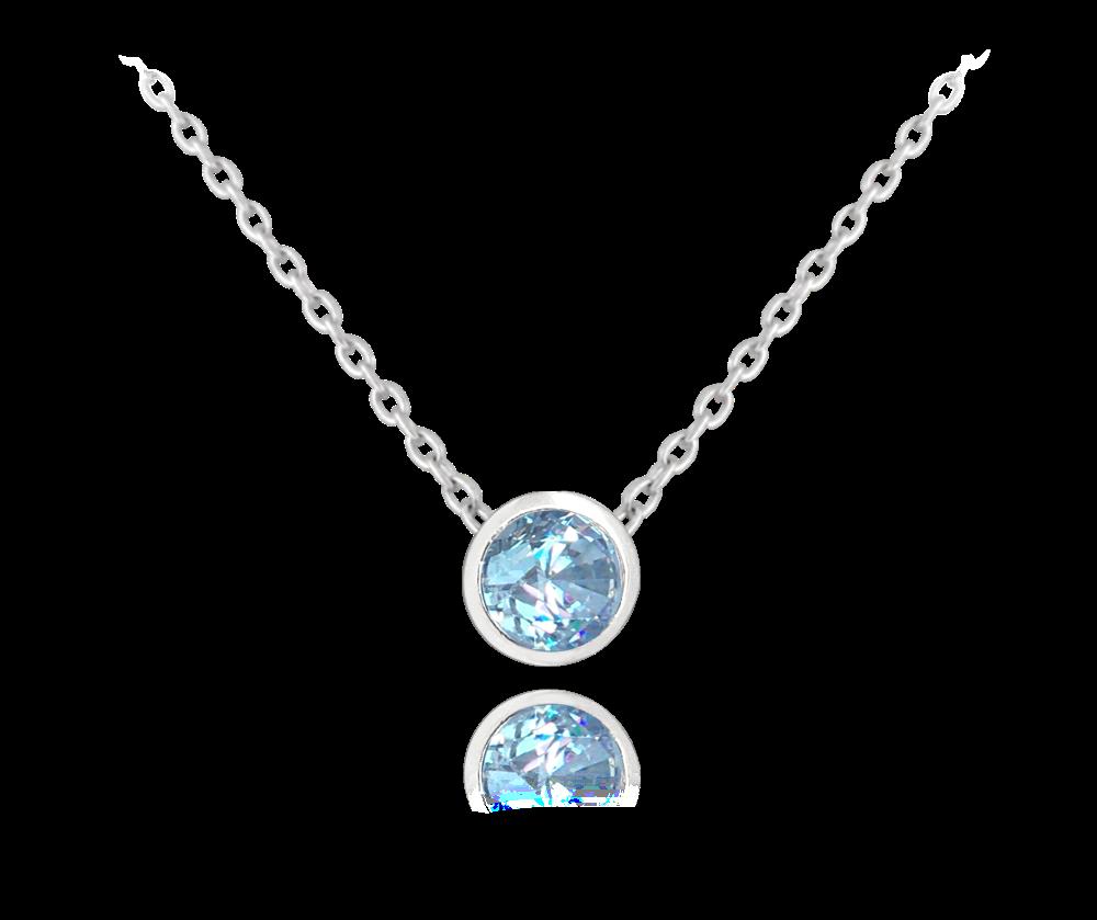 MINET Decentní stříbrný náhrdelník MINET se světle modrým zirkonem JMAS0096AN45