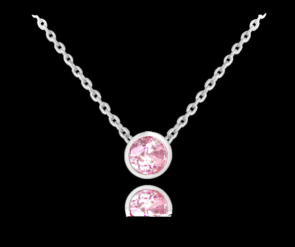 MINET Decentní stříbrný náhrdelník MINET s růžovým zirkonem JMAS0096PN45