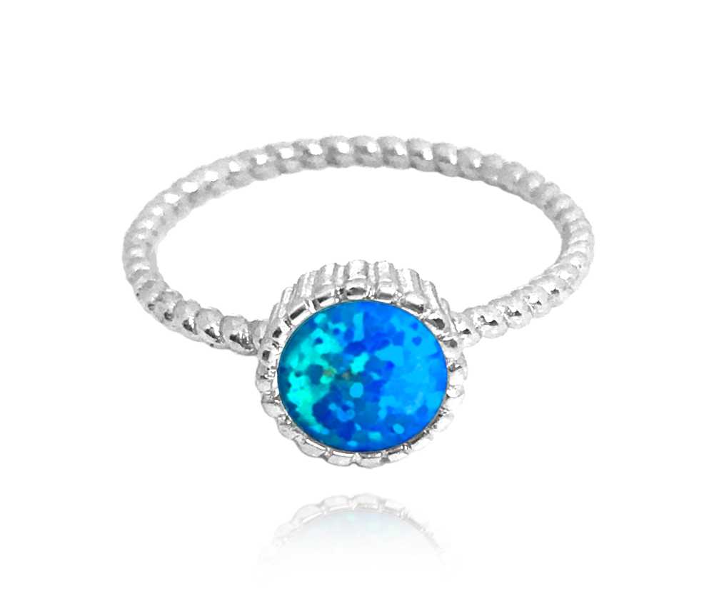 Stříbrný prsten MINET s modrým opálkem vel. 51