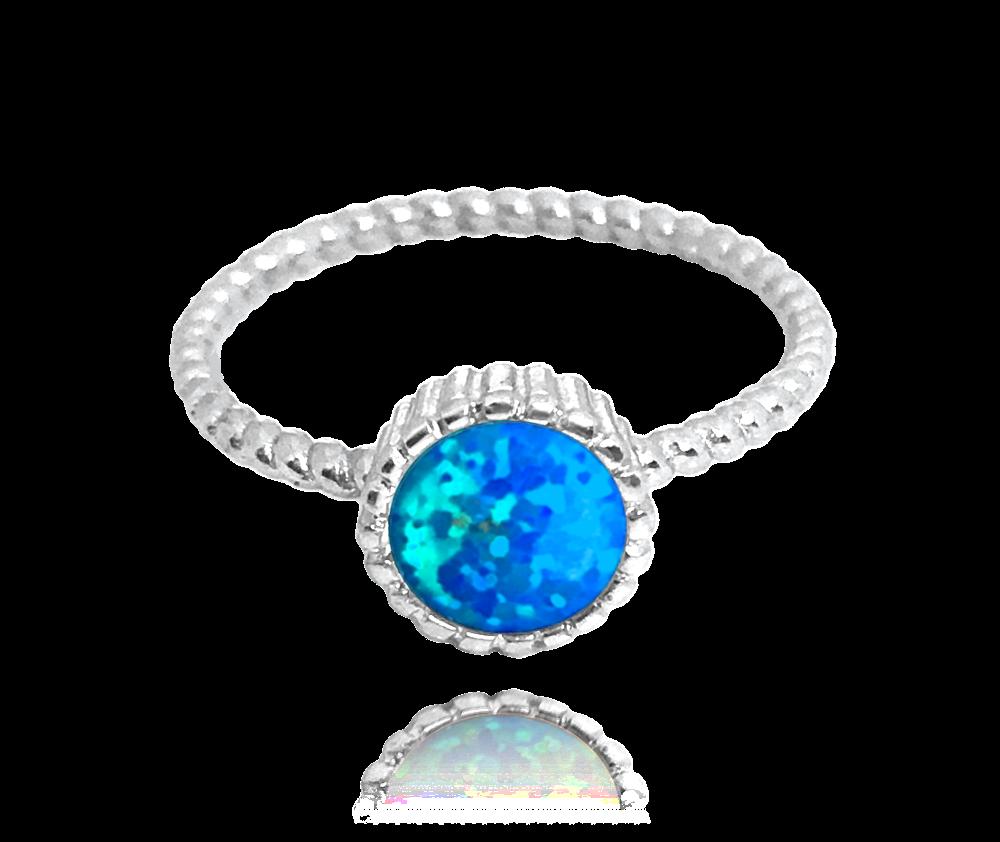 Stříbrný prsten MINET s modrým opálkem vel. 55