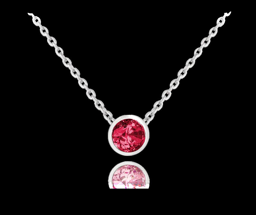 MINET Decentní stříbrný náhrdelník MINET s červeným zirkonem JMAS0096CN45