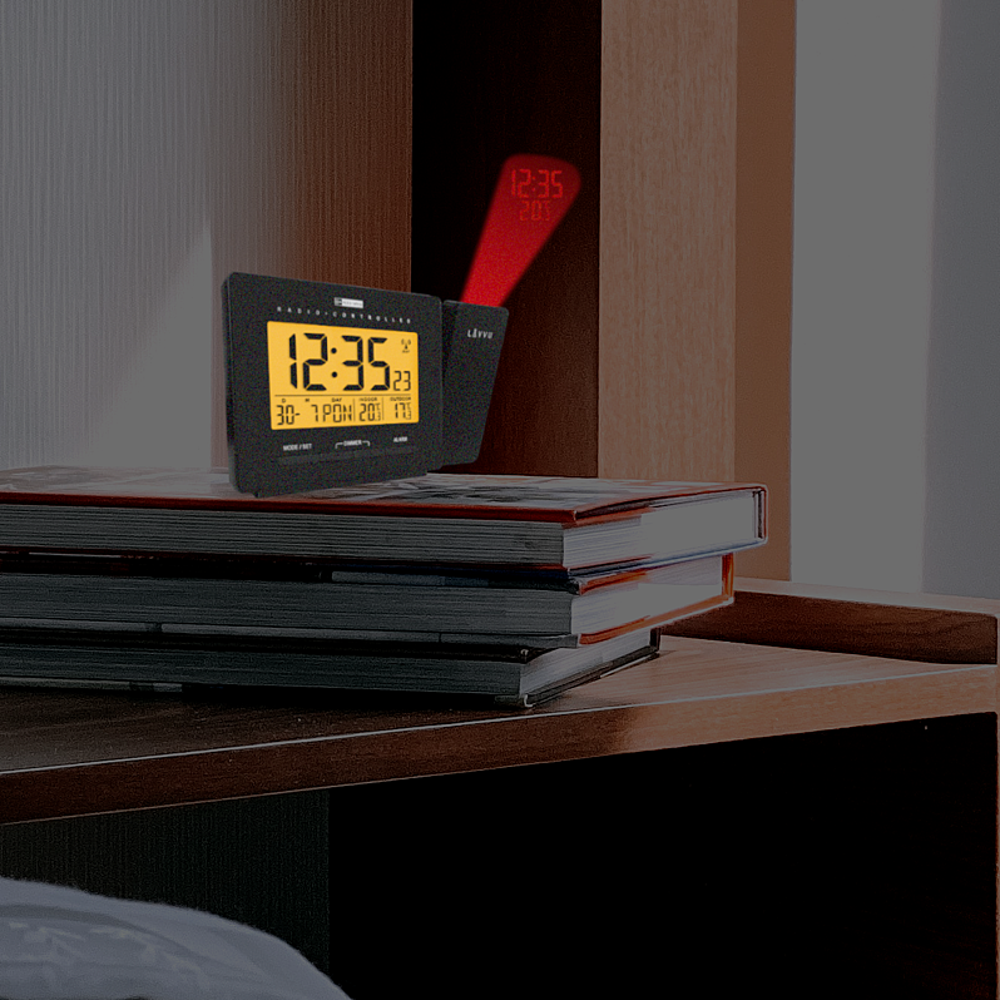 Digitální projekční budík řízený rádiovým signálem LAVVU PROJECTION s češtinou