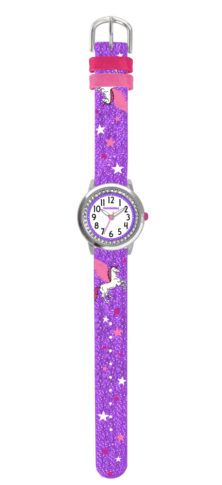 Fialové třpytivé dívčí hodinky s jednorožcem a kamínky CLOCKODILE UNICORN