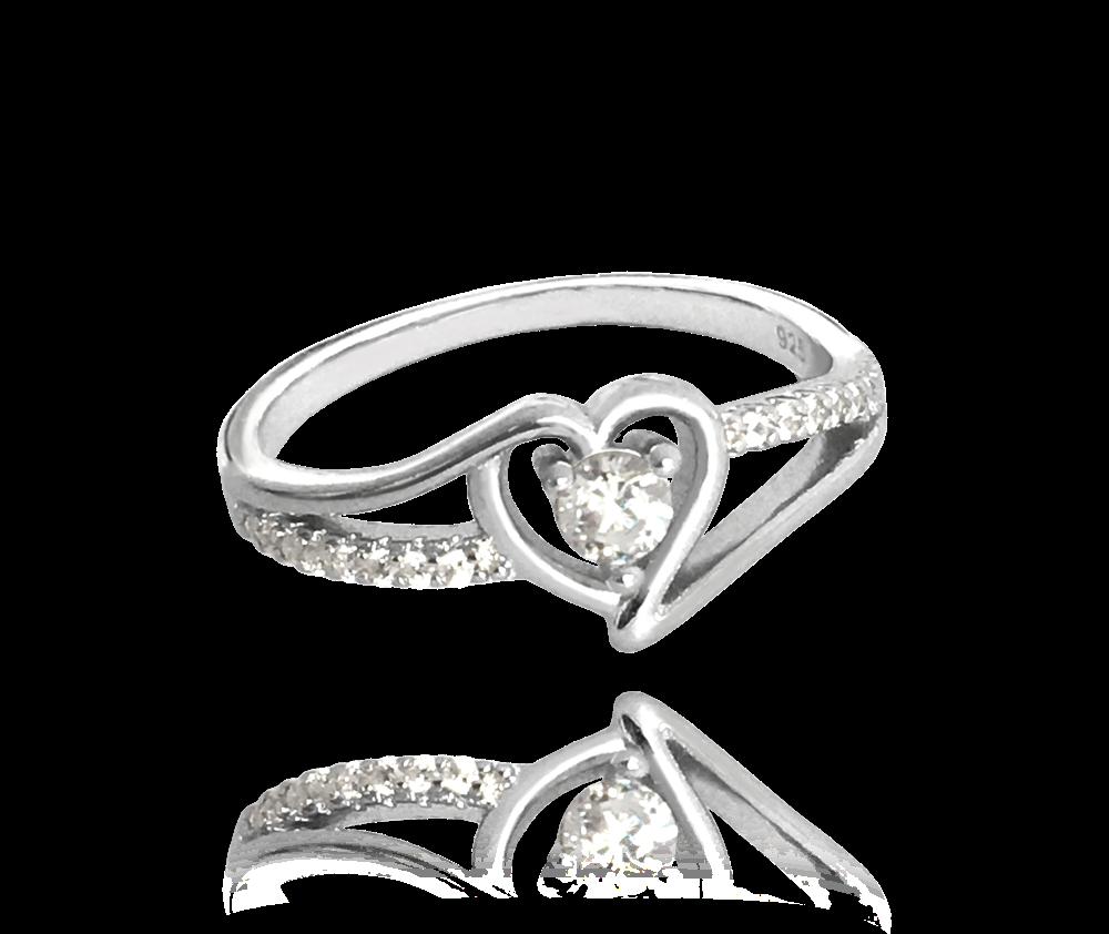 Stříbrný prsten se srdíčkem MINET LOVE s bílými zirkony vel. 56