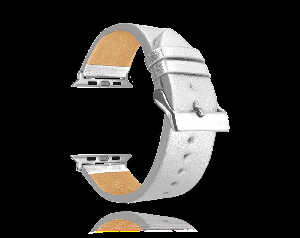 Stříbrný kožený řemínek MINET Top Grain pro APPLE WATCH 38-40 mm