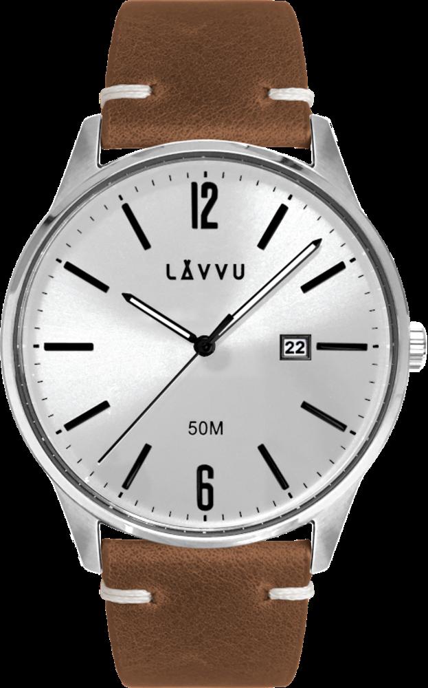 Elegantní pánské hodinky LAVVU KARLSTAD Silver / Brown Top Grain Leather