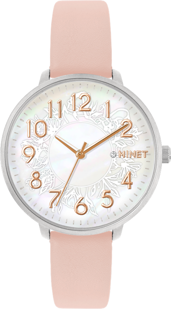 Růžové dámské hodinky MINET PRAGUE Pink Flower