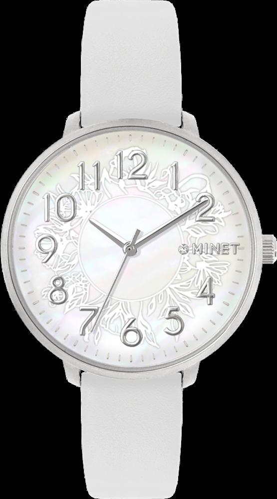 Bílé dámské hodinky MINET PRAGUE White Flower