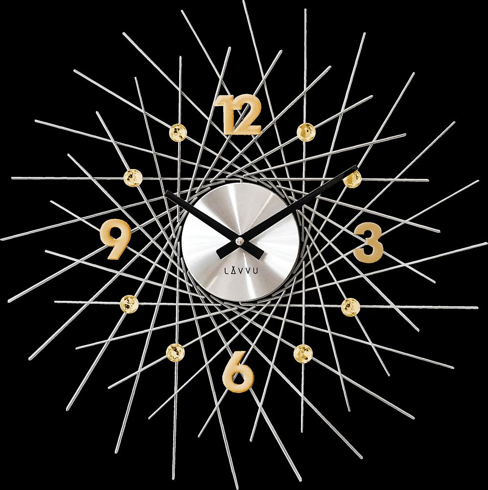 LAVVU Stříbrné hodiny se zlatými detaily LAVVU CRYSTAL Lines LCT1054