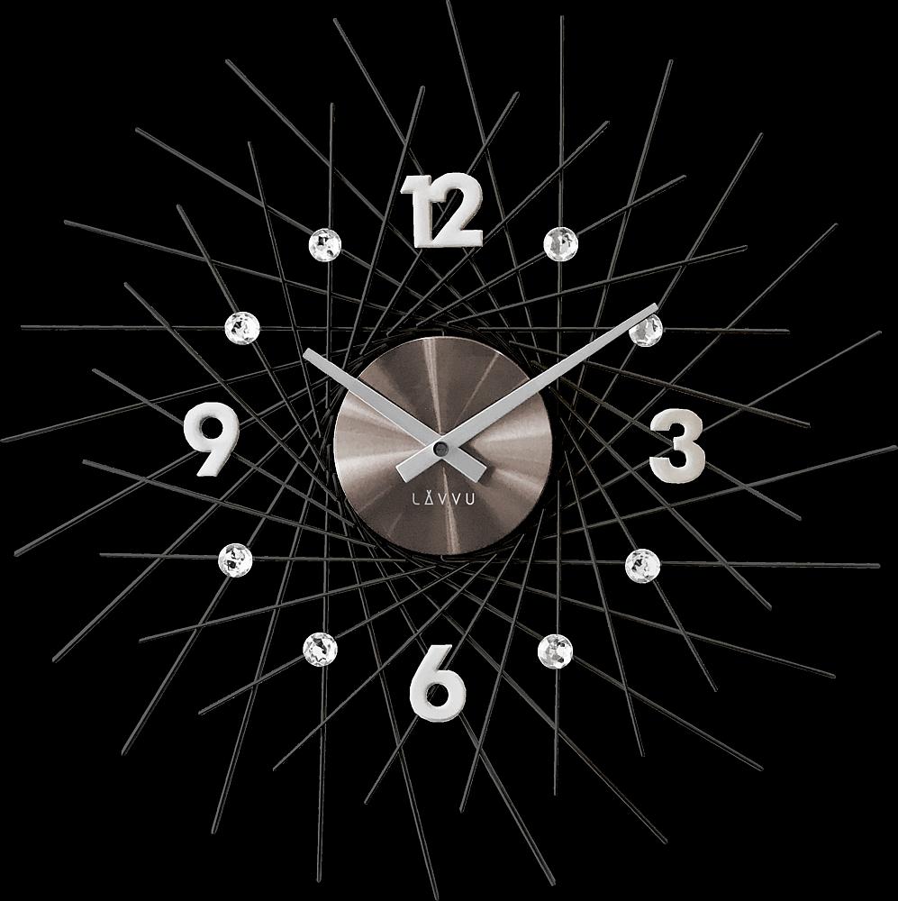 LAVVU Černé antracitové hodiny se stříbrnými detaily LAVVU CRYSTAL Lines LCT1055