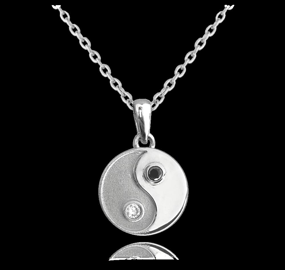 MINET Stříbrný náhrdelník MINET Yin and Yang se zirkony JMAN0226SN45