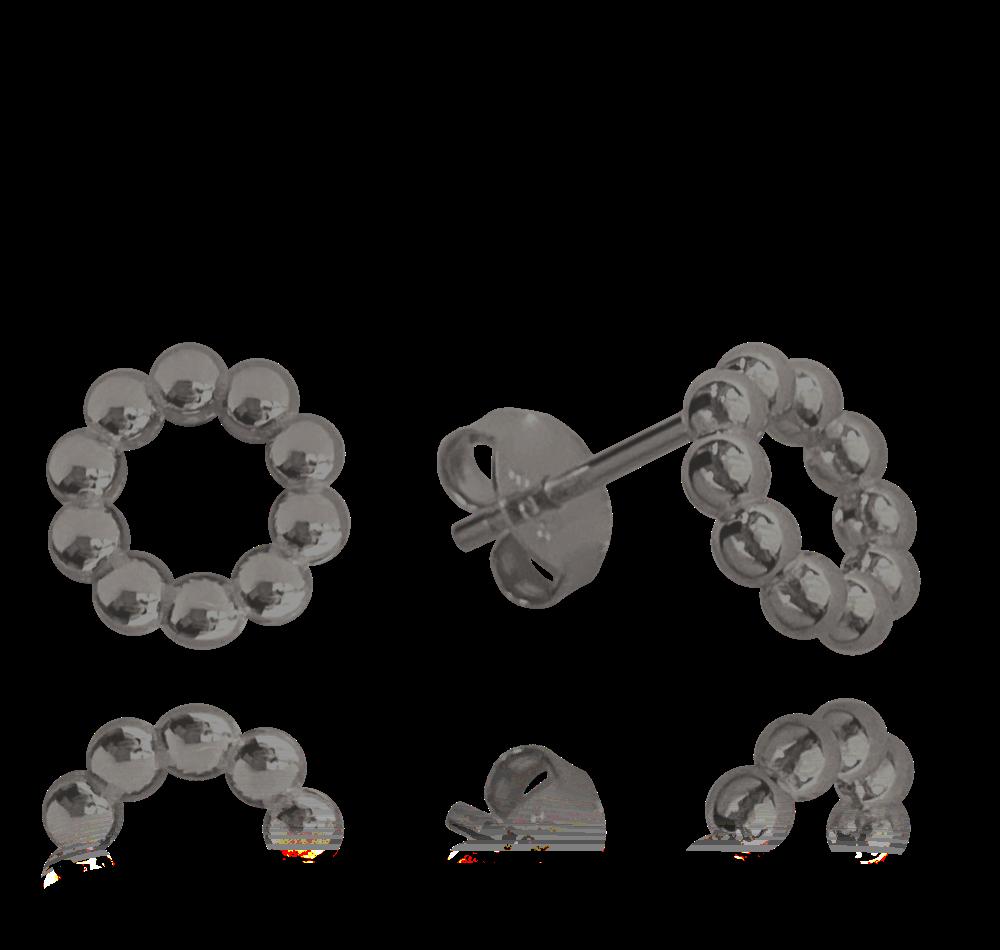 MINET Černé kuličkové stříbrné náušnice MINET KROUŽKY JMAN0227BE00