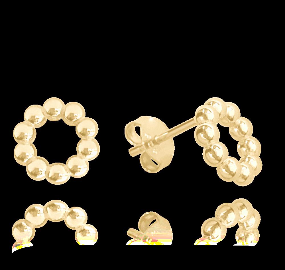 MINET Pozlacené kuličkové stříbrné náušnice MINET KROUŽKY JMAN0227GE00
