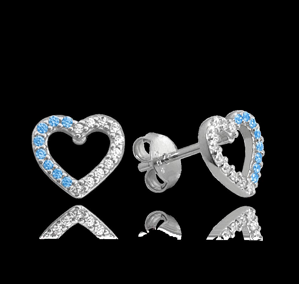 MINET Stříbrné náušnice MINET SRDCE s bílými a modrými zirkony JMAS0107AE00