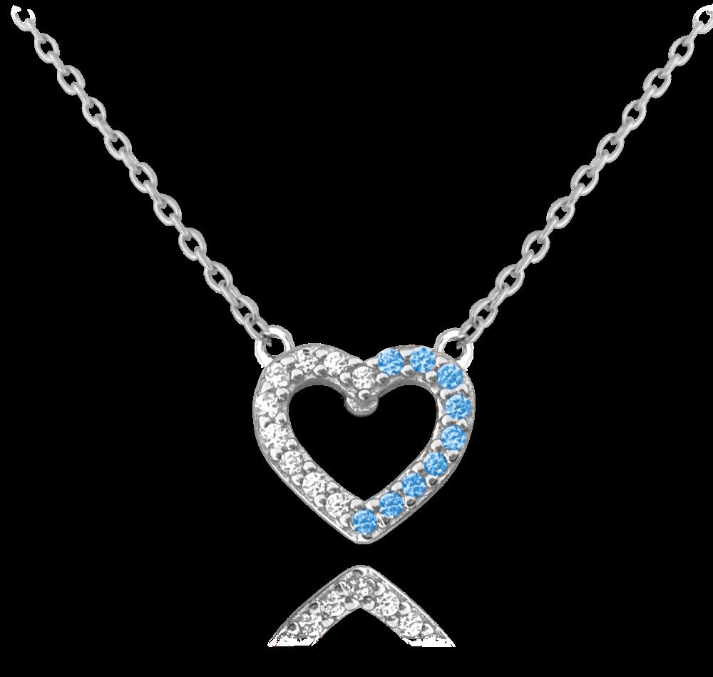 MINET Stříbrný náhrdelník MINET SRDCE s bílými a modrými zirkony JMAS0107AN45