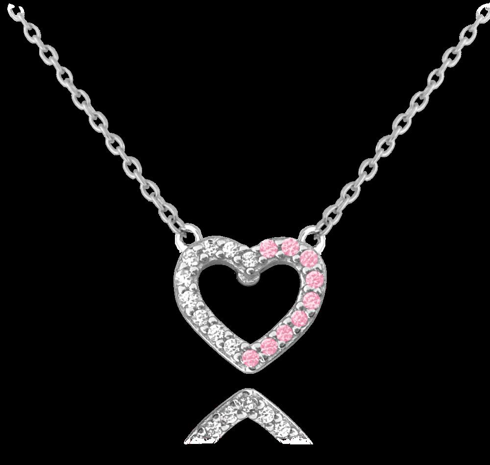 MINET Stříbrný náhrdelník MINET SRDCE s bílými a růžovými zirkony JMAS0107PN45