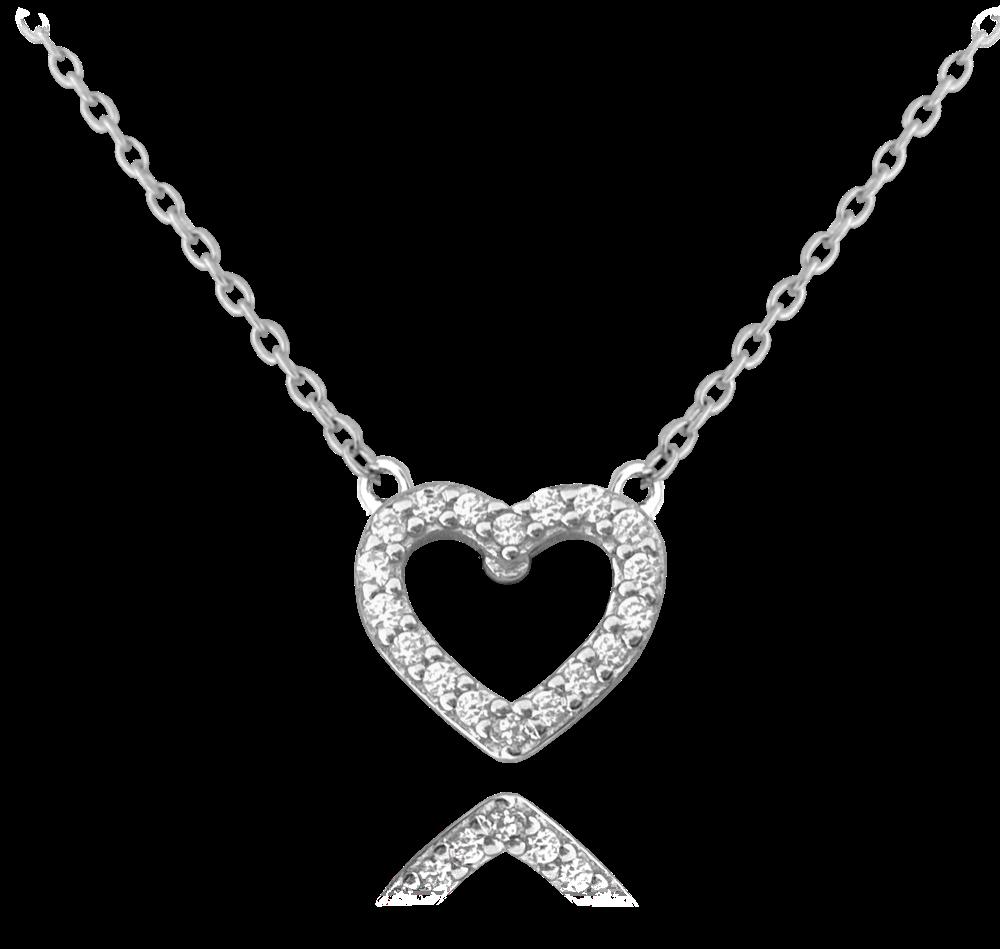 MINET Stříbrný náhrdelník MINET SRDCE s bílými zirkony JMAS0107SN45