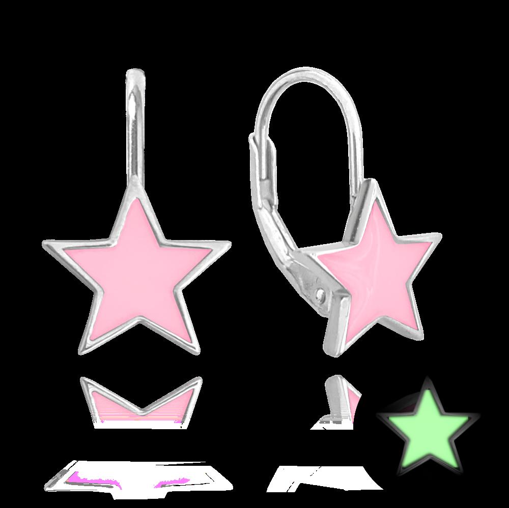 Svítící růžové stříbrné náušnice MINET HVĚZDIČKY