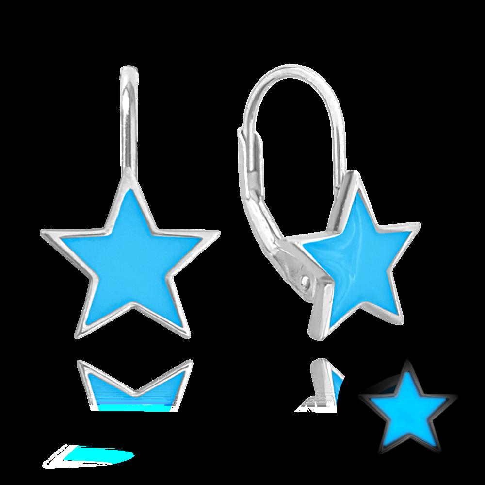 Svítící modré stříbrné náušnice MINET HVĚZDIČKY