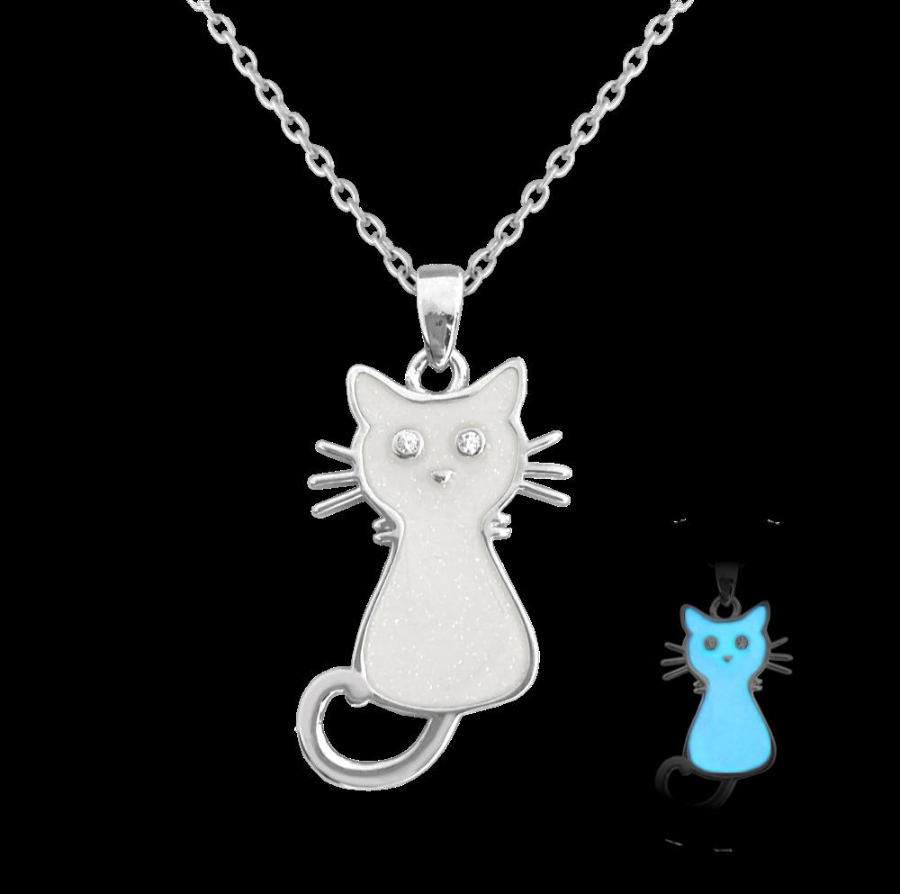 Svítící bílý stříbrný náhrdelník MINET KOČIČKA