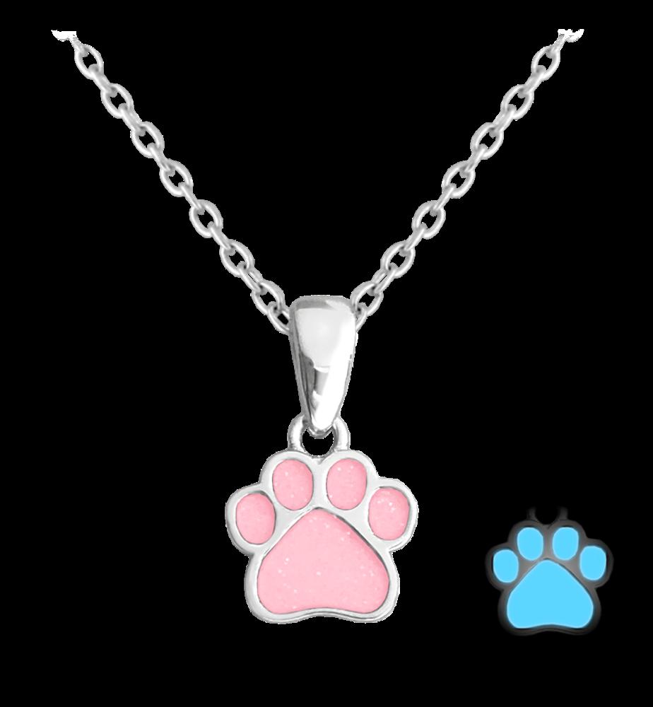 Svítící růžový stříbrný náhrdelník MINET TLAPKA