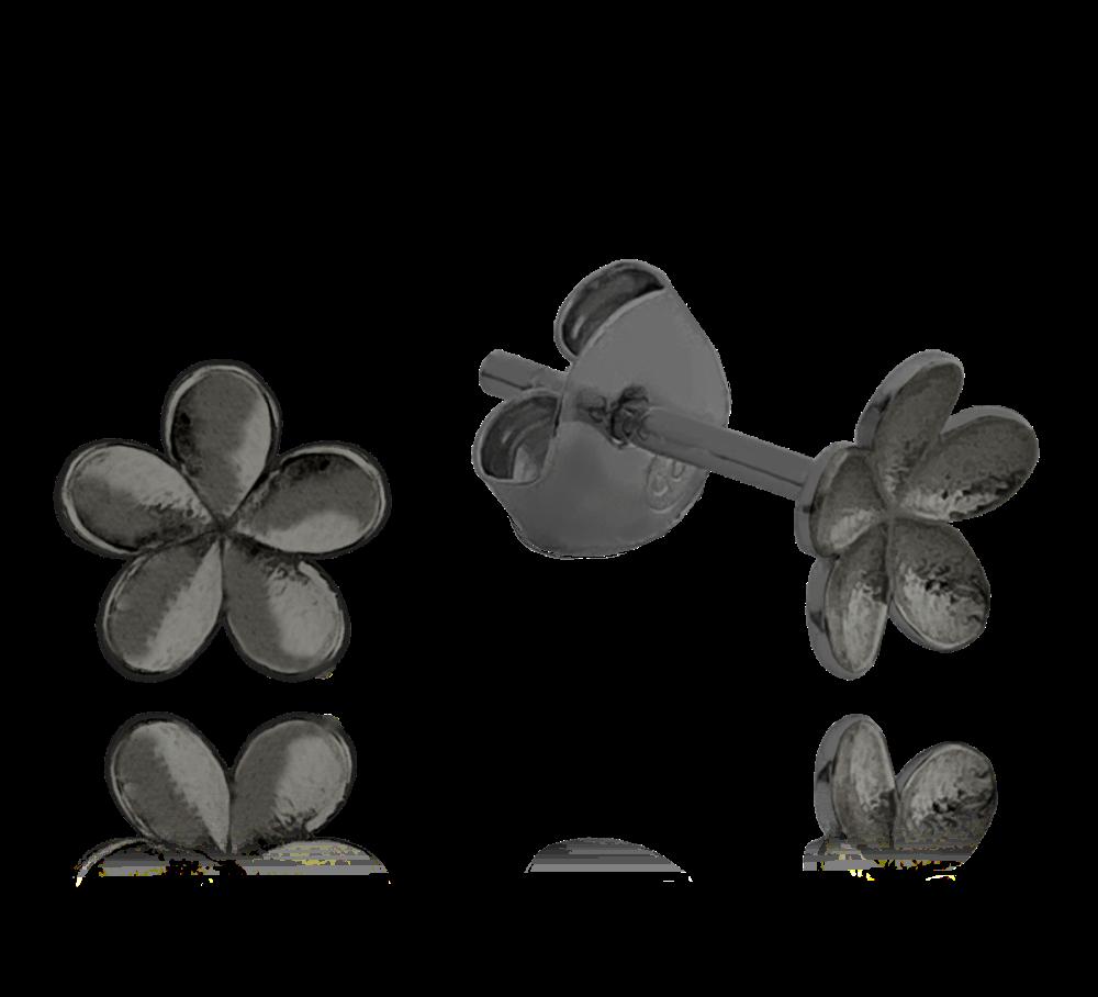 MINET Matné černé stříbrné náušnice MINET KYTKY JMAN5010UE00