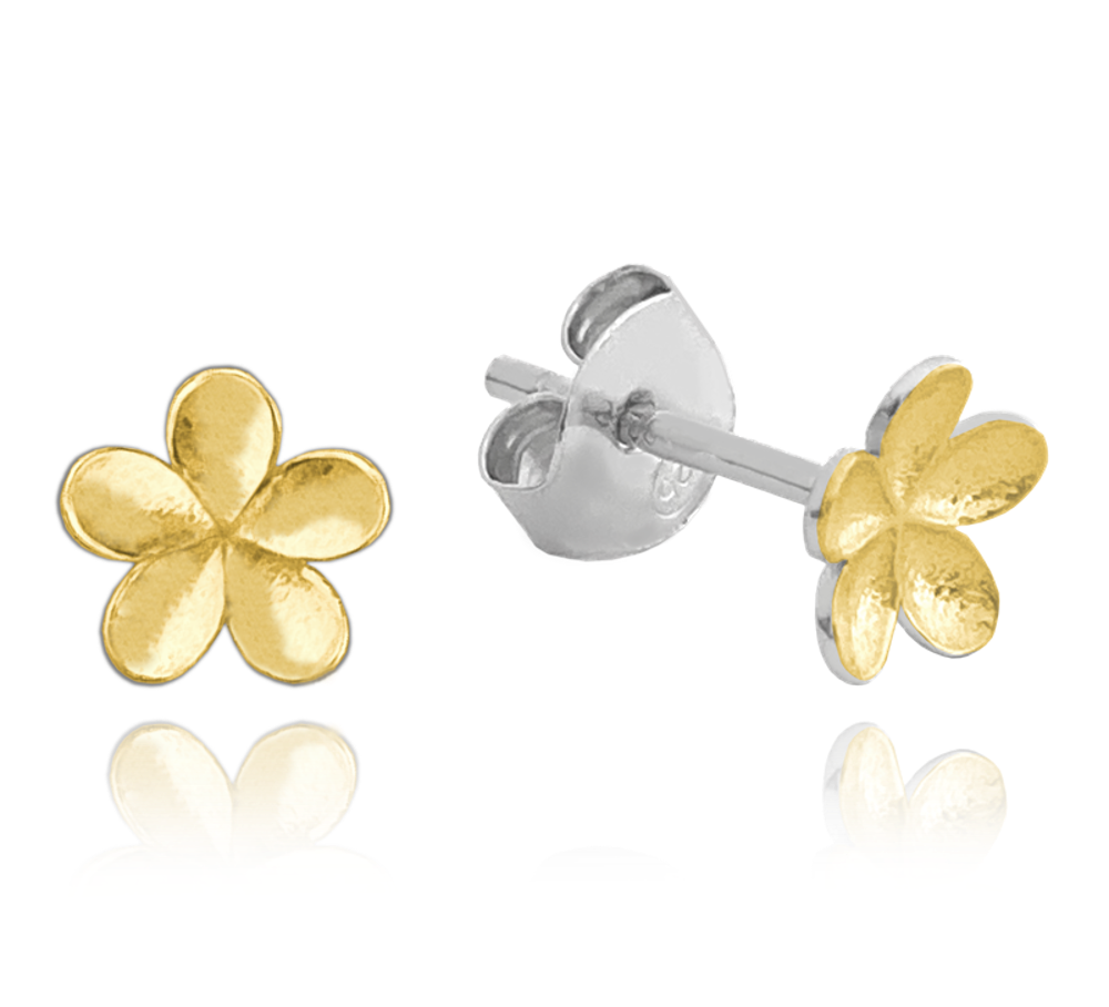 MINET Matné pozlacené stříbrné náušnice MINET KYTKY JMAN5010XE00
