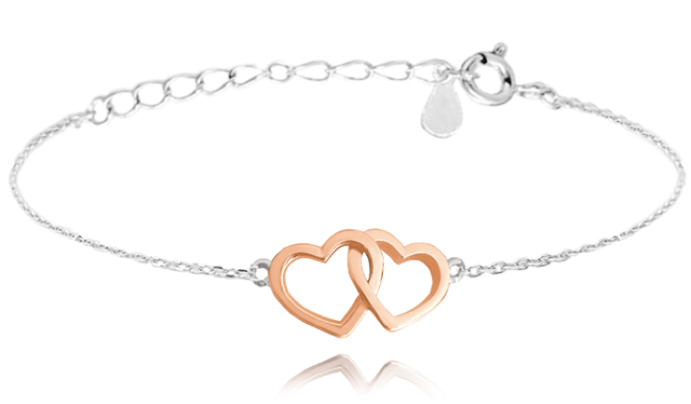 MINET Stříbrný náramek MINET LOVE s Rose gold srdíčky JMAS0106RB16