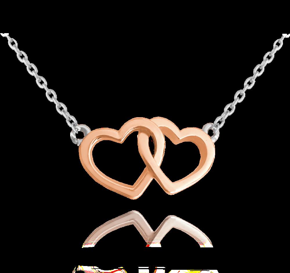 MINET Stříbrný náhrdelník MINET LOVE s Rose gold srdíčky JMAS0106RN45