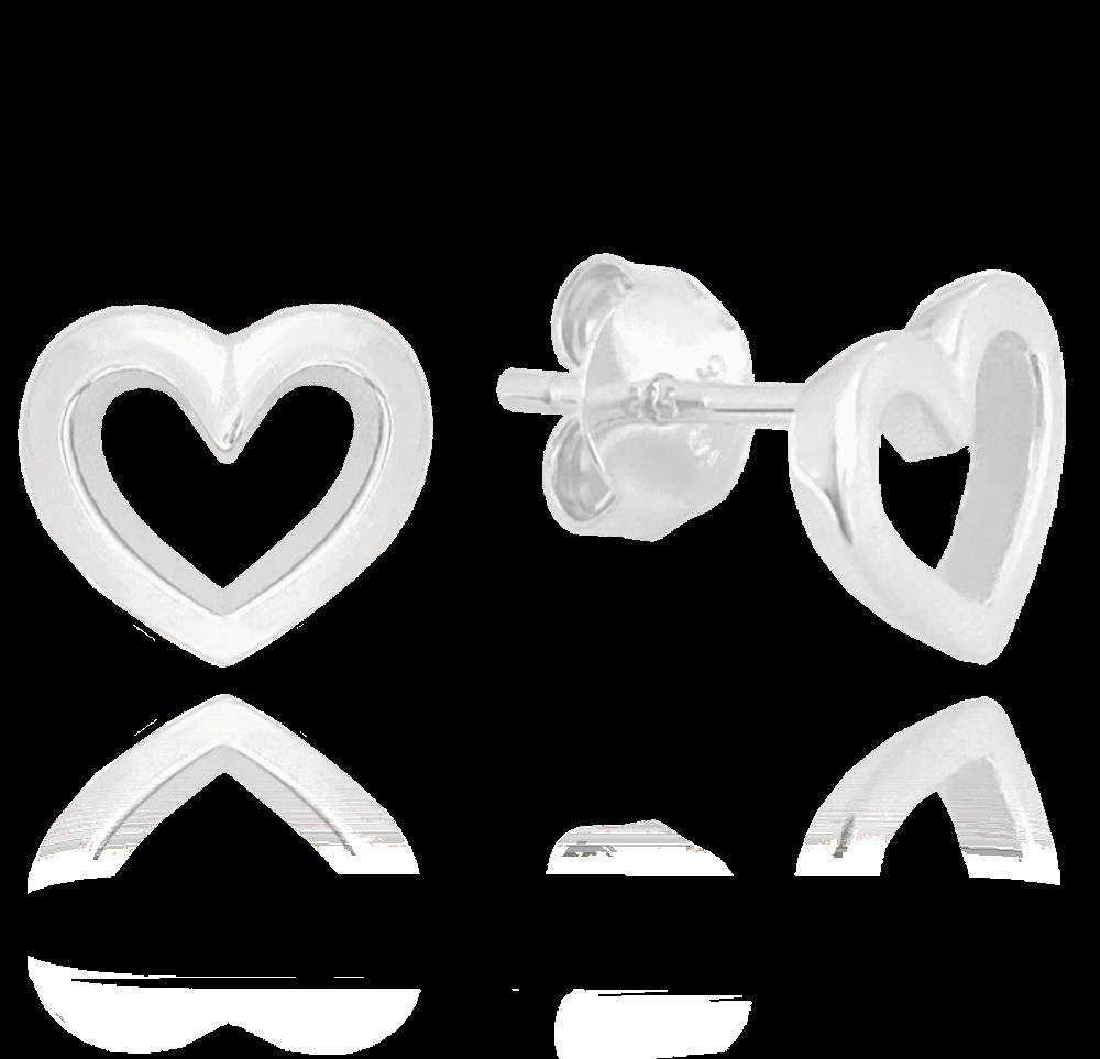 MINET Stříbrné náušnice MINET LOVE se srdíčky JMAS0106SE00