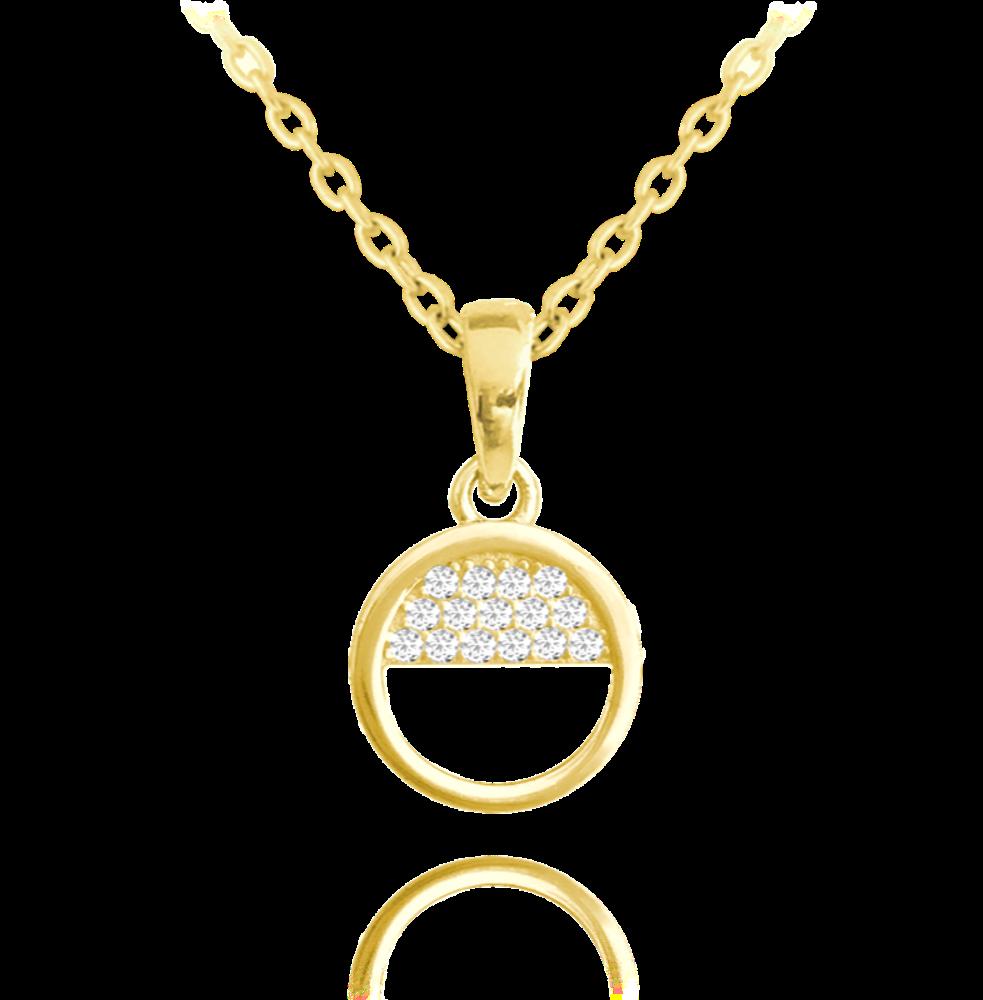 MINET Pozlacený půlkruhový stříbrný náhrdelník MINET s bílými zirkony JMAS0034GN45