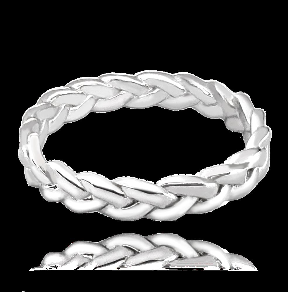 MINET Propletený stříbrný prsten MINET vel. 64 JMAS5002SR64