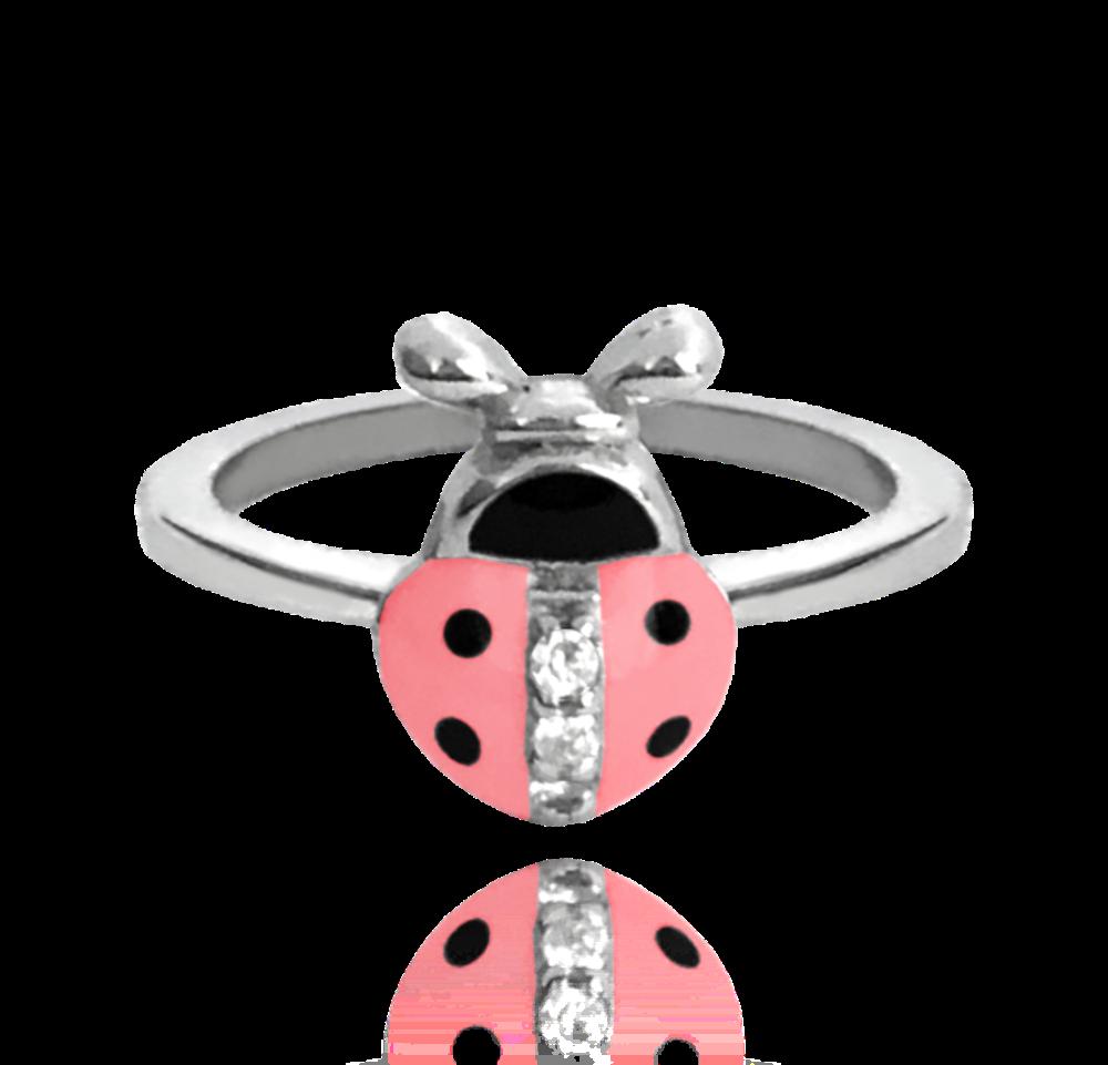 MINET Stříbrný prsten MINET RŮŽOVÁ BERUŠKA vykládaná zirkony vel. 48 JMAD0001PR48