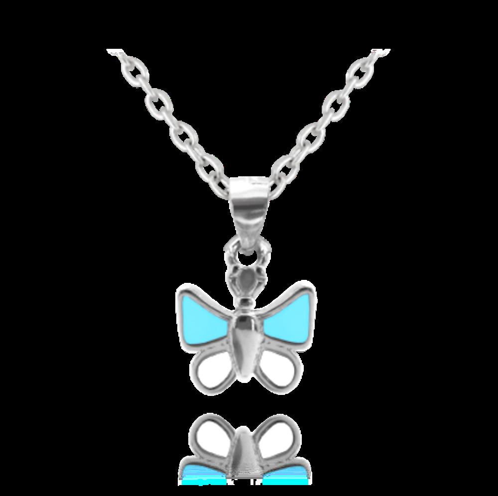 Stříbrný náhrdelník MINET MODRÝ MOTÝLEK